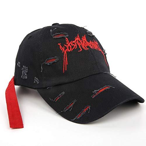 änner Baumwolle ausgestattet verstellbare Baseballmütze Frauen zerrissene Hip Hop Bone Snapback Hüte mit langem Gürtel,C1 ()