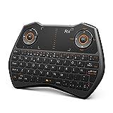 Rii Mini Teclado Inalámbrico.Mini teclado ergonómico retroiluminado con doble ratón touchpad