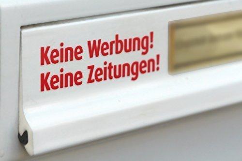 Keine Werbung, Keine Zeitungen Briefkasten-Tattoo in Rot, freistehende Buchstaben, UV- und witterungsbeständig @immi.de