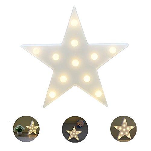 Wefond Decorativo LED Luz Tropical Lámpara de escritorio Marquee Sign Luz de la batería de pared de la decoración de los niños luz de la noche de la habitación (Estrella)