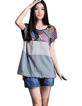 Winwintom Tallas Grandes Mujeres Casual Floral Imprimir Linen Loose T-Shirt O-Neck Blusa Grande más blusa de tamaño...