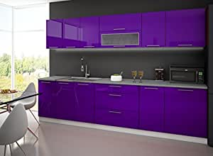 cuisine 3m laquee avec plan de travail aubergine amazon. Black Bedroom Furniture Sets. Home Design Ideas