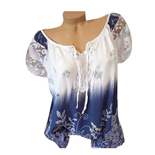 Femmes manches courtes en dentelle à col en V Imprimé Dentelle Tops Loose T-Shirt Blouse Tefamore (FR-48/CN-XXXXXL, Blanc)