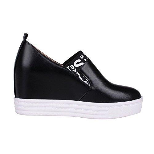 VogueZone009 Femme Tire à Talon Haut Pu Cuir Couleurs Mélangées Rond Chaussures Légeres Noir