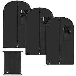 INTEY Kleidersack x 3, Schuhsack x 1, Premium Kleiderhülle Anzughülle mit Sichtfenster, Wasserdichtes Material mit Tasche, 100 x 60cm Schwarz