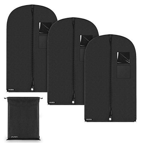 INTEY 3x Kleidersack Premium Anzugsack / Kleiderhülle / Anzughülle aus atmungsaktivem umweltfreundlichem Vliesstoff Material- 100 x 60 cm -Allround-Schutz für Anzüge und Kleider, inkl. kostenlosem Schuhbeutel(35 x 45cm)