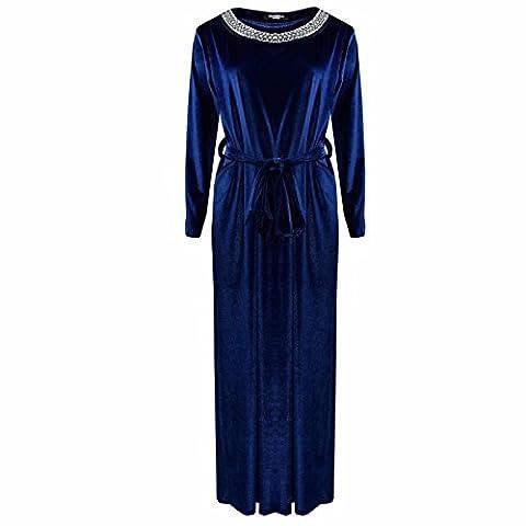 Comfiestyle - Robe - Maxi - Manches Longues - Femme - bleu - Taille Unique