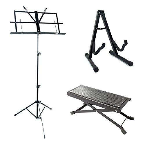 Acandoo Gitarre Zubehör Set - Notenständer, Gitarrenständer und Fußbank