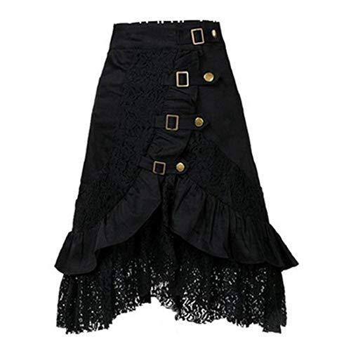 Bauern Einfache Kostüm - Punk Spitze Rock Damen Steampunk Gothic Vintage viktorianisch Zigeunerrock Hippie Party Rock Gothic Retro Spitze Trim High Low Black Rock Large Black#01