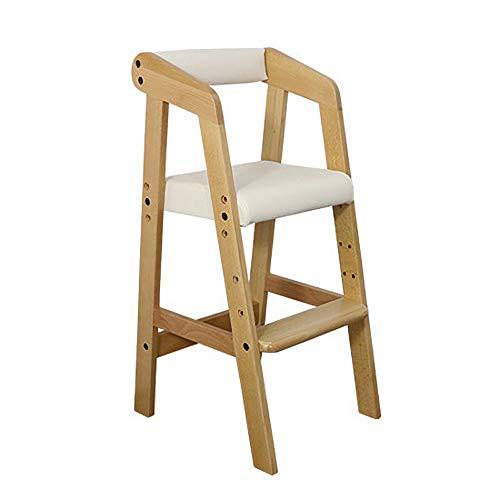 Tragbarer Kinderhochstuhl, einstellbare Babyfütterungsmatte, anhebbarer Esstisch und Stuhl aus Massivholz, Baumwollkissen L40 × W37 × H74cm (Farbe : Weiß) - Eukalyptus-reiben