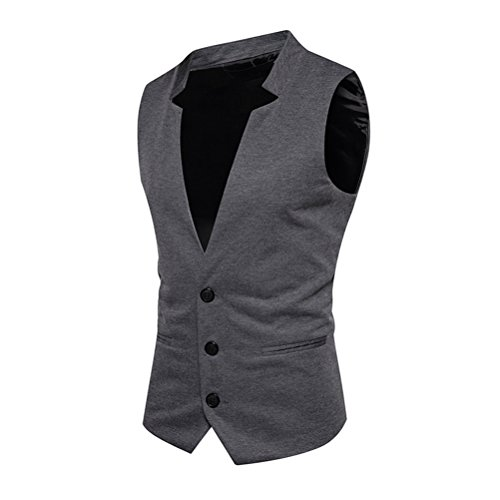 Zhhlaixing Gilet da Uomo Mens V Neck Sleeveless Solid Color Waistcoat 3 Button Slim Fit Outerwear Business Office Casual Suit Vests Cyber Monday November 11th Gift Dark Gray