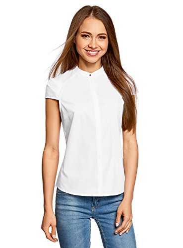 oodji Ultra Damen Bluse Aus Baumwolle mit Kurzen Ärmeln, Weiß, DE 36/EU 38/S (Weiße Baumwolle Blusen)