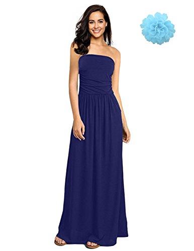 Sitengle Damen Kleider Bandeau Bustier Off Shoulder Maxikleid geblümt lange Strandkleider Cocktailkleid Sommerkleid Blau L