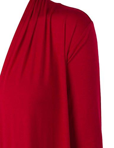 Suimiki Casual Damen Cardigan Strickjacke Offener V-Ausschnitt Langarmshirts Sweatshirts Loose Fit Longshirts Sommerjacke Blusen Rot
