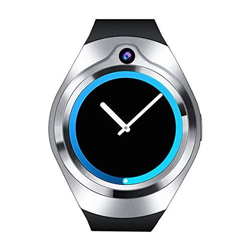 ZYJ Mann GPS-Navigationsuhr, intelligente runde Schirm-Uhr-Herzfrequenz-Monitor-Sport-Armbanduhr-intelligente Anzeigen-Schlaf-Monitor-Uhren WIFIS,Silber