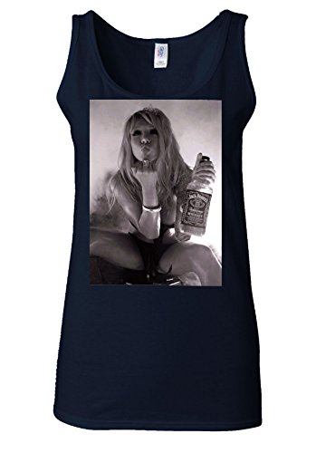 Drunk Girl Whiskey Sweraing Middle Finger White Women Vest Tank Top Bleu Foncé