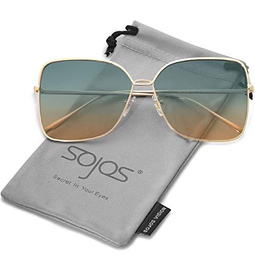 Sojos vogue occhiali da sole donna quadrati rettangolari grandi vintage nuovo modello oversized sj1082 con oro telaio/verde& marrone lente