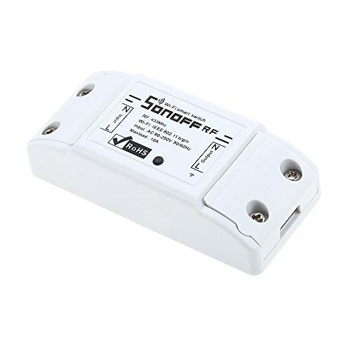 Docooler SONOFF RF WiFi Switch RF 433MHz Kompatibel mit Alexa 10A / 2200W mit Timing-Funktion Fernbedienung für Android/IOS-APP-Steuerung für Elektrogeräte Universal Smart Home Automation Module