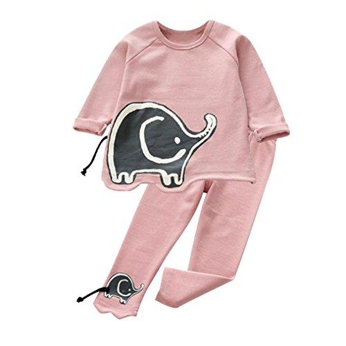 Bekleidung Longra Baby Kinder Mädchen Jungen Sports Kleidung Set mit Elefanten Kinder Langarm Sweatshirts Pullover T-shirts+ Lang Hosen Kindermode Kinderkleidung (3-7Jahre) (110CM 4Jahre, (Kostüme Elefant Rosa Kleinkind)