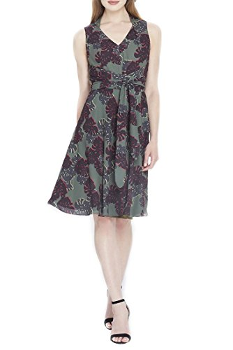 Tahari Brand - Floral Georgette A-Line Dress - Olive Black Gold