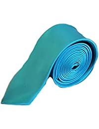 High Quality Plain Skinny Slim Satin Tie Aqua Blue