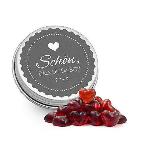 DeinBonbon 20x Gastgeschenk Mini Dose DIY Süßigkeiten und Stickerbogen   Hochzeit, Geburtstag, Taufe & Kommunion (Anthrazit, Cassis Herzen Fruchtsaft Gummis)