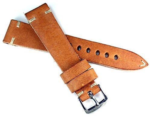20 mm 20mm / 16mm RIOS1931 kräftiges Rindsleder Military Style Armband Retro Look Quality Strap hell braun Militär Marine Flieger Band Top Qualität