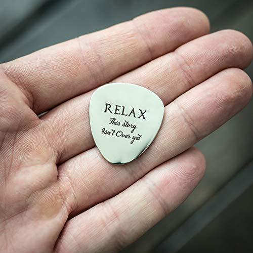 Relax diese Geschichte ist noch nicht über-Gitarre Plektrum-Minimalismus Zitat-Die psychische Gesundheit Bewusstsein-Reminder Depression-Schöne Hand Prägung Custom Gitarre Plektrum