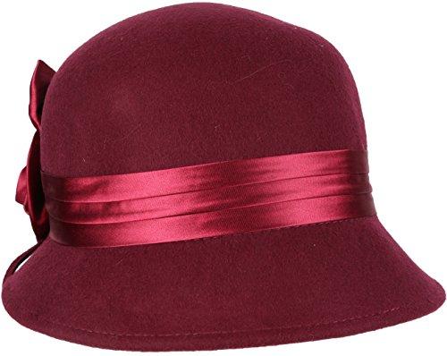 Burgund Akzente (EH1121LC - Womens Vintage Style 100% Wolle Cloche Eimer Winter Hut mit Satin Blume Akzent (6 Farben) - Burgund / One Size)