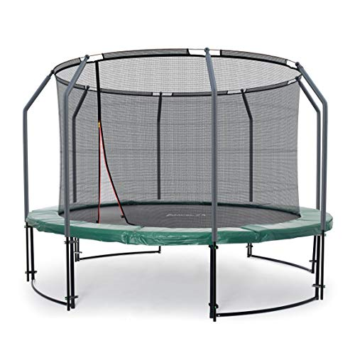 Ampel 24 Deluxe Outdoor Trampolin 305 cm grün komplett mit innenliegendem Netz, Belastbarkeit 150 kg, Sicherheitsnetz mit Stabilitätsring