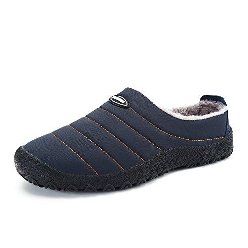 Voovix Herren Damen Winter Hausschuhe Plüsch Warm Gefüttert House Slippers Rutschfeste Wasserdicht Freizeitschuhe Indoor Outdoor Schuhe(Blau,EU38)