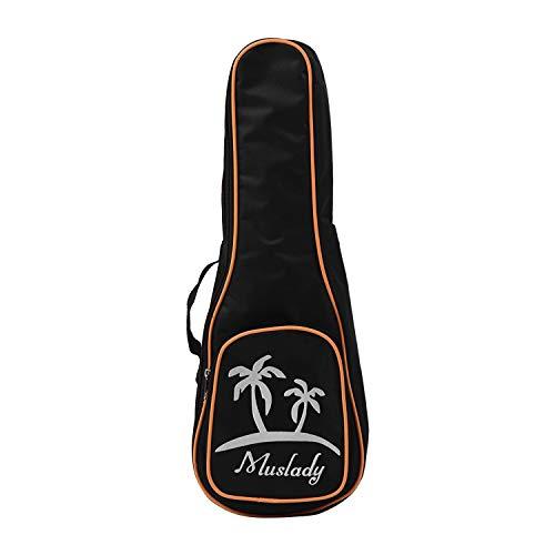 Muslady Borsa per ukulele tenore 23 pollici Custodia con cerniera Imbottitura 5mm Stile del modello del cocco con Tracolla regolabile Maniglia per il trasporto laterale Nero
