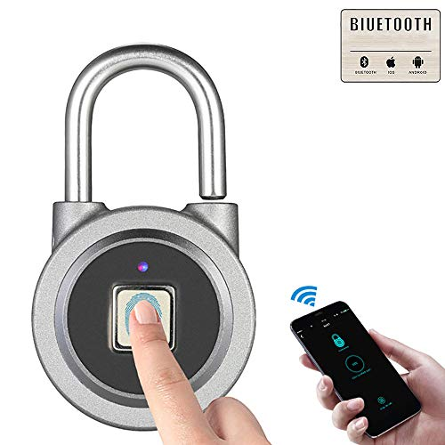 H&T Metal Fingerprint Padlock, Smart Padlock Waterproof WiFi USB App E