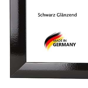 Bilderrahmen PN35 31x108 oder 108x31 cm in SCHWARZ HOCHGLANZ normal Kunstglas und Rückwand, 35 mm breite MDF-Leiste mit Dekor Folienummantelung
