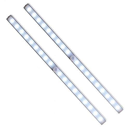 Unigear 2X Luz Armario USB Recargable Lámpara Automático PIR Sensor De Movimiento Humano 18 LED 3 Modo Barra Iluminación Noctura Escalera Esquina Oscuro Cajón [Clase de eficiencia energética A++]