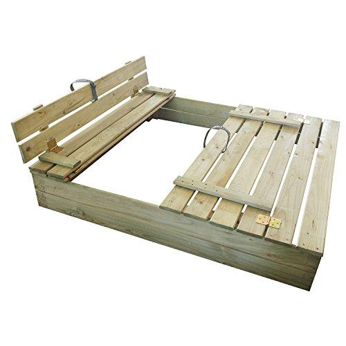 Nordje Sandkasten mit Deckel und Sitzbank Anike 116x110x19,5cm (Breite x Tiefe x Höhe) aus Holz