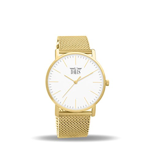 Davis 2054 - Womens Design Watch Yellow Gold Classic Ultra Thin Case White Dial Mesh Milanese Strap
