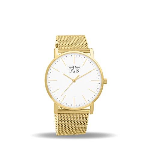 Davis 2054 - Reloj Diseño Mujer Acero Oro Cuadrante Extra plano Esfera Blanco Correa Mesh Malla Milanese