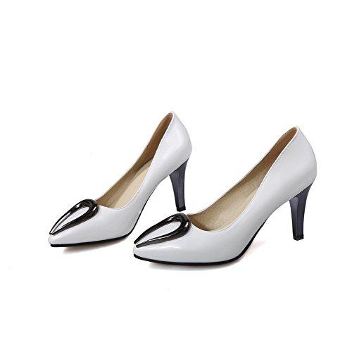 VogueZone009 Femme Pu Cuir Mosaïque Tire Pointu à Talon Haut Chaussures Légeres Blanc
