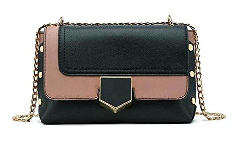 3c80f1af9bd4c Damen Kette Tasche Schultertasche Umhängetasche Mode Elegant Vintage Kleine  Handtaschen Mini Black Bag Black