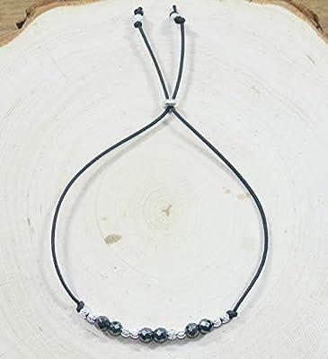 Bracelet Femme Hematite et Argent 925 - Cordon Ajustable