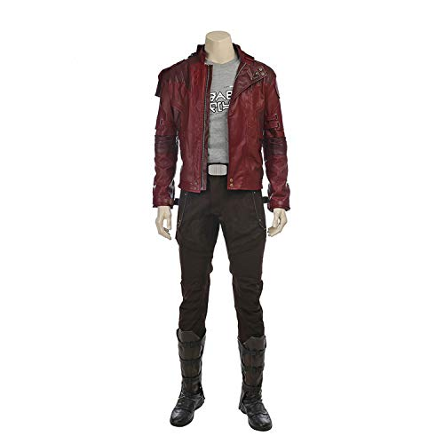 Kostüm Deluxe Star Lord - QWEASZER Guardians 2 Star-Lord Kostüm Adult Marvel Avengers Superheld Cosplay Kostüm Jacken, T-Shirts, Hosen, Schuhe Halloween Kostüm Party Requisiten Deluxe Edition,Guardians-XL