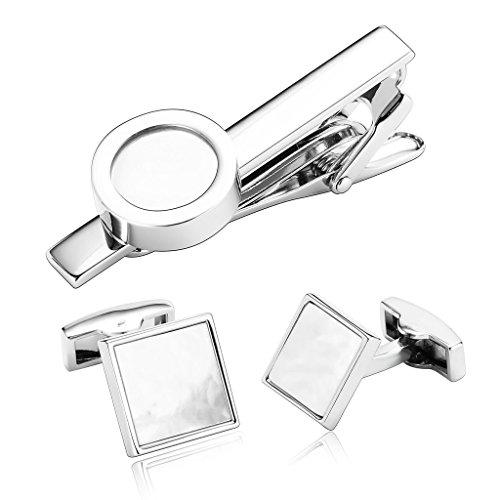 knsam-rodio-plateado-gemelos-y-clip-corbata-hombre-plata-rectangulo-redondo-cascara-gemelos-original
