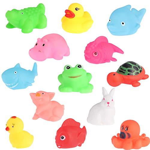 TOYANDONA Baby Badespielzeug Set Badewanne Ente Fisch Weiche Tier Bad Wasser Spielzeug für Säugling Neugeborenen 13 stücke