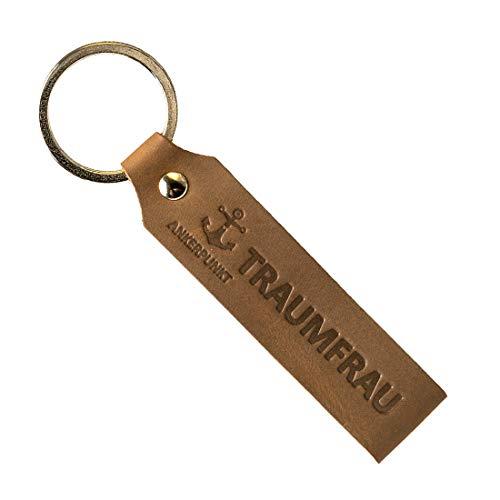 Botschaft Schwarz Echtes Leder (ANKERPUNKT Schlüsselanhänger Leder mit Gravur Traumfrau Geschenk für Frauen Geburtstag Jahrestag Handmade in Germany)