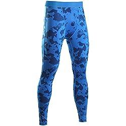 SaiDeng Hombres Camuflaje Deportivos Pantalones Elástico Compresión Secado Rápido Leggings Azul L