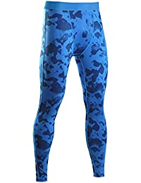 SaiDeng Hombres Camuflaje Deportivos Pantalones Elástico Compresión Secado Rápido Leggings Azul XL