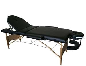 Melko® Tragbare Profi-Massageliege 3 Zonen aus Aluminium und Holz - in verschieden Farben (Holz, Schwarz)