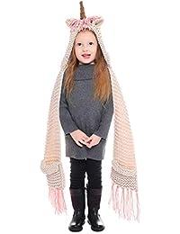 0d721b08ed307 CGN Niños Animales Sombrero Bufanda Guantes Conjunto Unicornio con Capucha  Bufanda con Bolsillo Crochet Invierno Tejer para niñas…