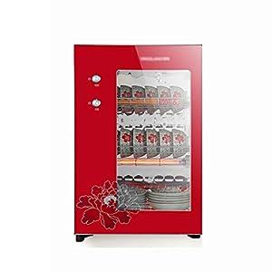MXRqndqa Wärmegeräte Desinfektionsschrank 60L Kleiner vertikaler Desktop-Desinfektionsschrank aus Edelstahl (Größe: 425x365x655mm, Rot, Gold, Zwei Farben können wählen)
